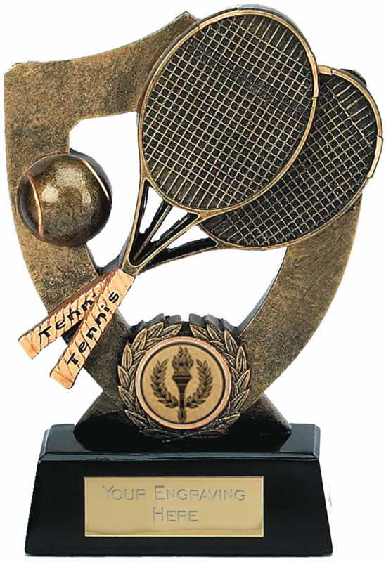 "Tennis Trophy with Ball and Rackets 14cm (5.5"")"