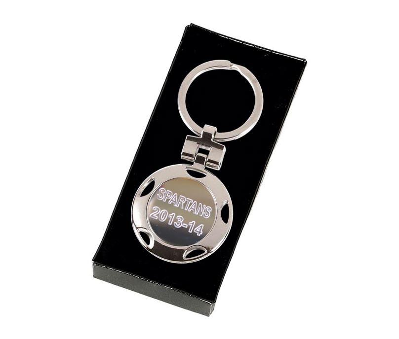 "Silver Crown Round Keyring 4cm (1.5"")"