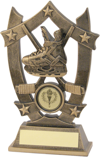 "Antique Gold Resin Ice Hockey 5-Star Trophy 14cm (5.5"")"