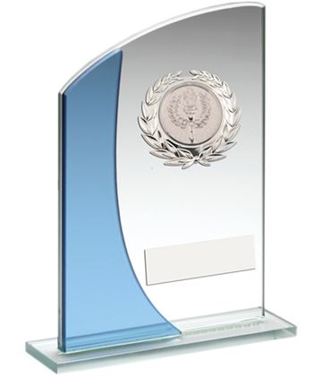 """Blue Curved Top Silver Trimmed Glass Award 15cm (6"""")"""