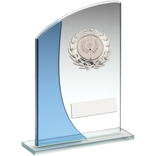 "Blue Curved Top Silver Trimmed Glass Award 15cm (6"")"
