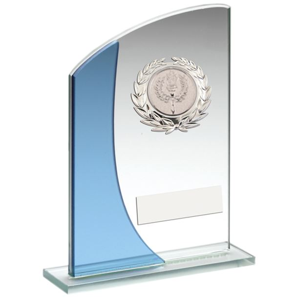 """Blue Curved Top Silver Trimmed Glass Award 18cm (7"""")"""