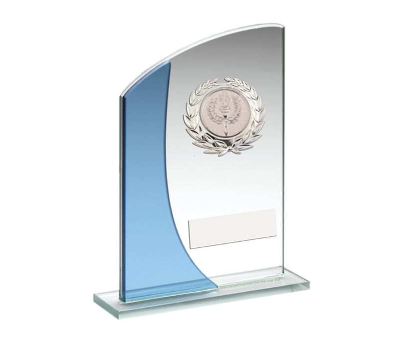 "Blue Curved Top Silver Trimmed Glass Award 18cm (7"")"