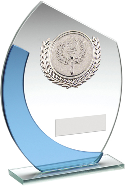 "Blue Arch Clear Glass Award with Silver Trim 18cm (7"")"