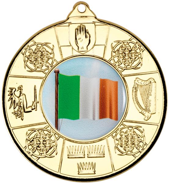 "Gold Irish Patterned Medal 50mm (2"")"