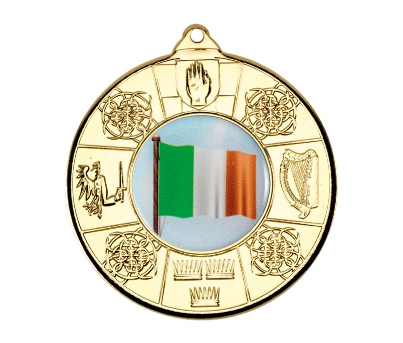 "Gold Irish Patterned Medal 50mm (2"")"