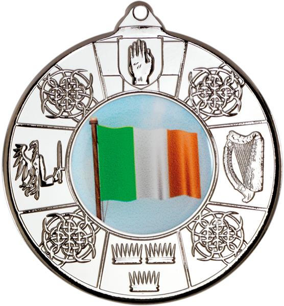 "Silver Irish Patterned Medal 50mm (2"")"