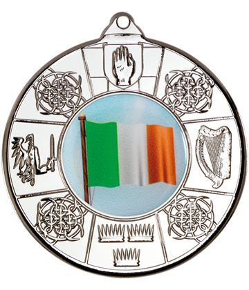 "Silver Irish Patterned Medal 50mm (2"")"