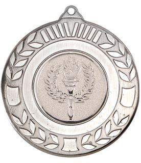 """Antique Silver Wreath Medal 50mm (2"""")"""