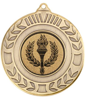 "Antique Gold Wreath Medal 50mm (2"")"