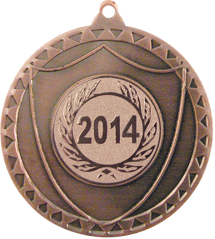 "Bronze Shield Medal with Pattern 50mm (2"")"