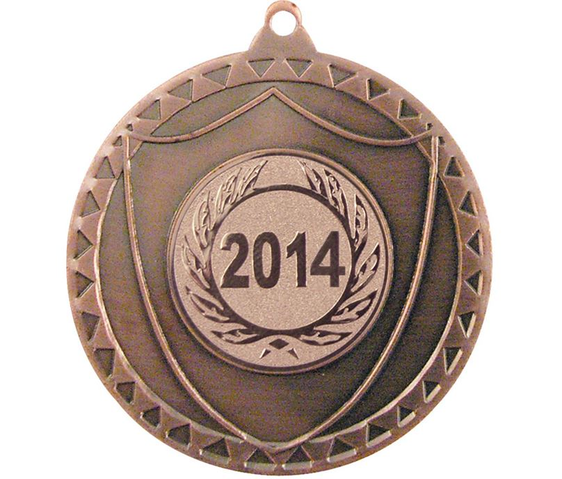 """Bronze Shield Medal with Pattern 50mm (2"""")"""