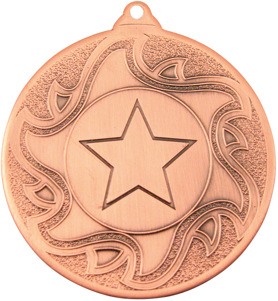 "Bronze Sunburst Star Patterned Medal 50mm (2"")"