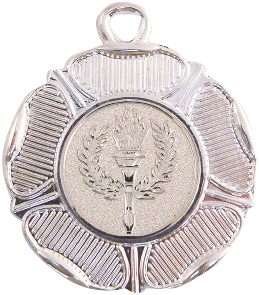 "Silver Tudor Rose Style Medal with 1"" Centre Disc 50mm (2"")"