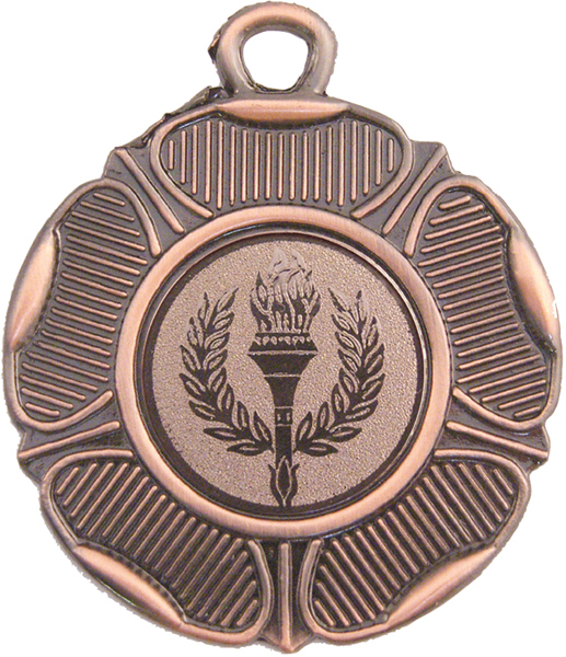 """Bronze Tudor Rose Style Medal with 1"""" Centre Disc 50mm (2"""")"""