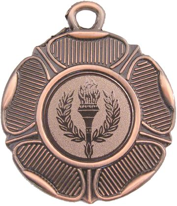 "Bronze Tudor Rose Style Medal with 1"" Centre Disc 50mm (2"")"