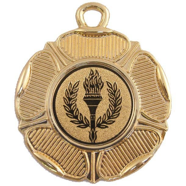 """Gold Tudor Rose Style Medal with 1"""" Centre Disc 50mm (2"""")"""
