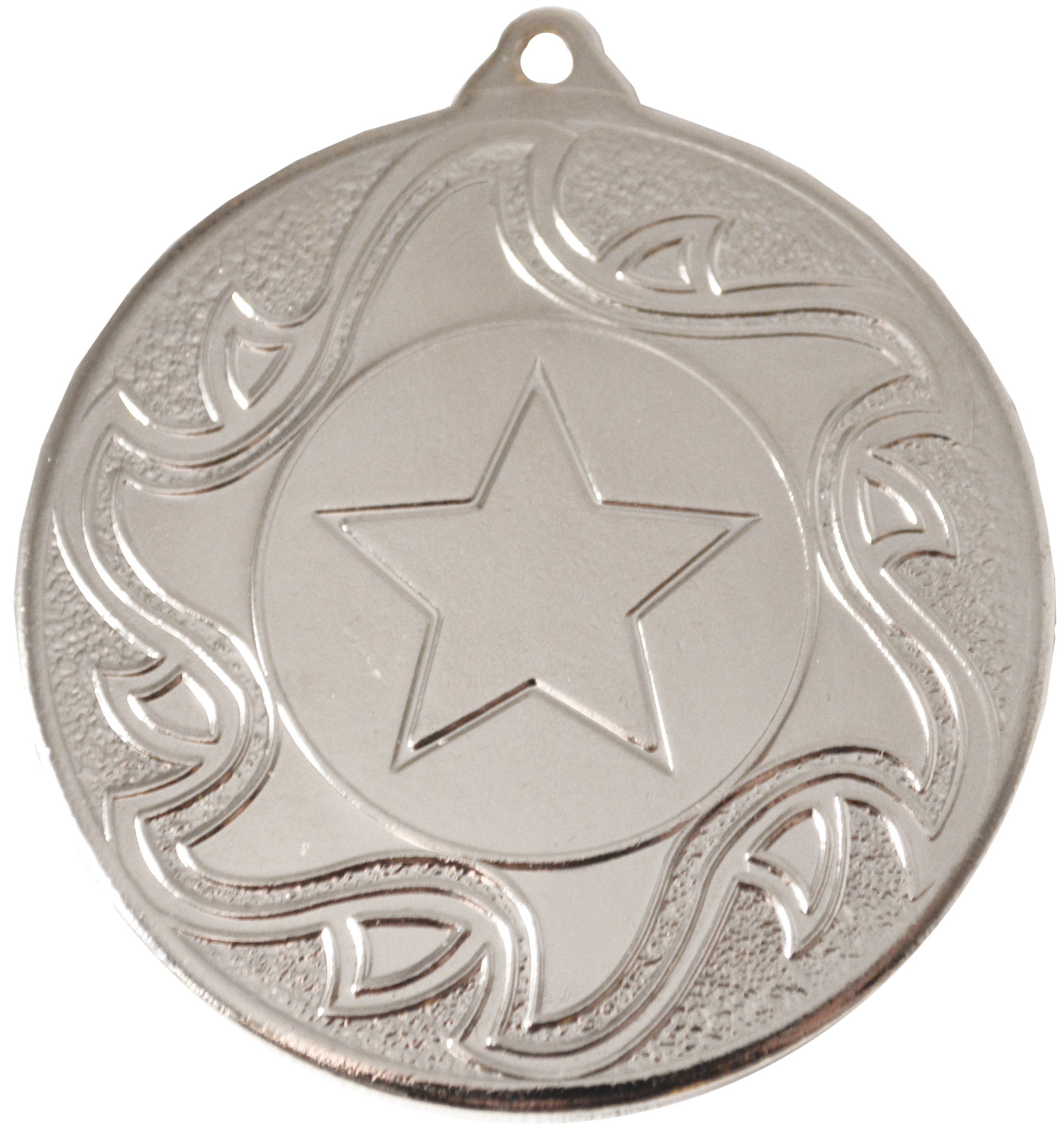"Silver Sunburst Star Patterned Medal 50mm (2"")"