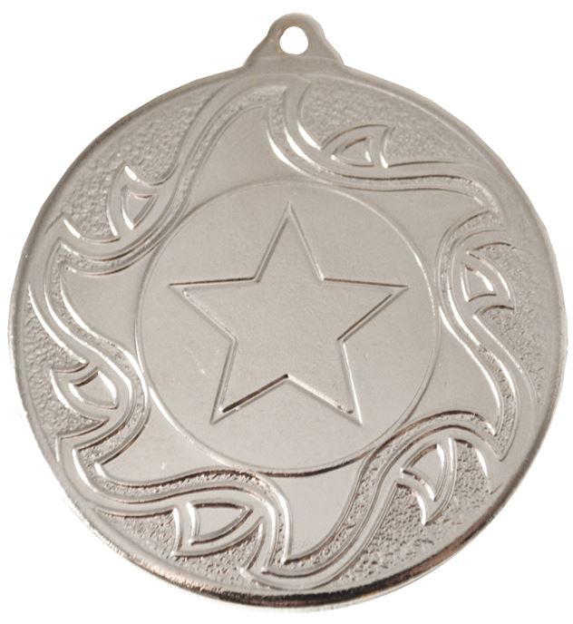 "Silver Sunburst Star Patterned Medal 50mm (2"")"