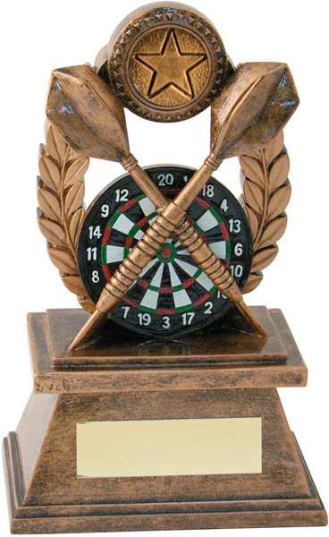 "Gold Crossed Darts & Laurel Wreath Trophy 14cm (5.5"")"