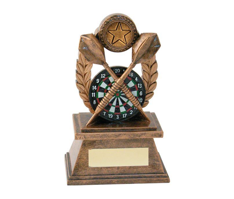 "Gold Crossed Darts & Laurel Wreath Trophy 21.5cm (8.5"")"