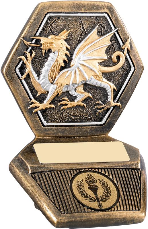 """Antique Gold Resin Welsh Dragon Trophy 11cm (4.25"""")"""