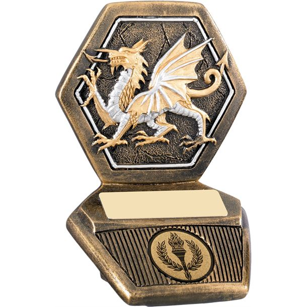 "Antique Gold Resin Welsh Dragon Trophy 11cm (4.25"")"