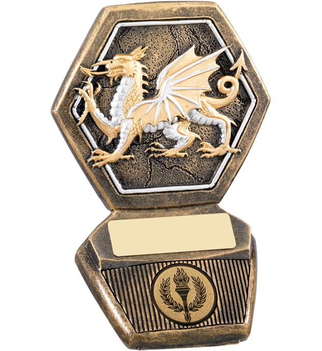 """Antique Gold Resin Welsh Dragon Trophy 12.5cm (5"""")"""