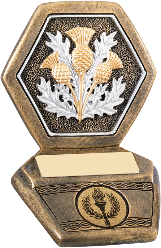 "Antique Gold Resin Scottish Thistle Trophy 11cm (4.25"")"