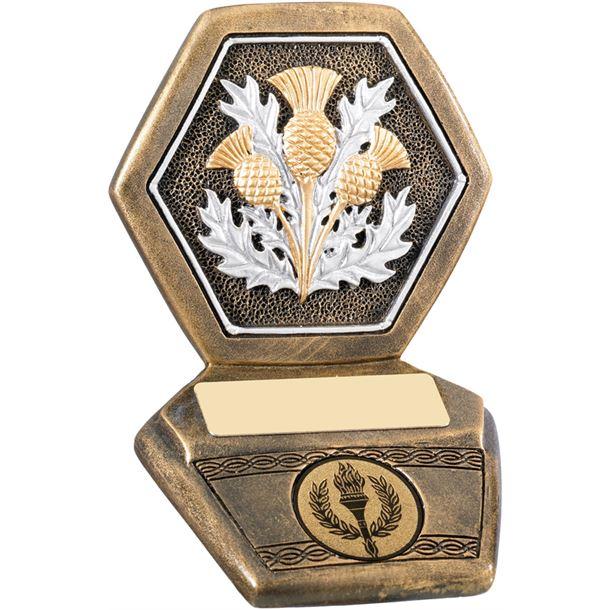 "Antique Gold Resin Scottish Thistle Trophy 11cm (4.25"")"