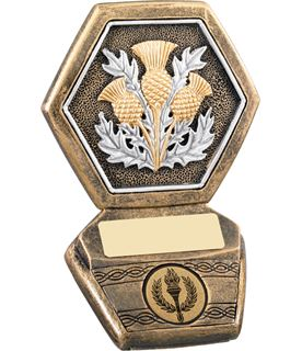 "Antique Gold Resin Scottish Thistle Trophy 12.5cm (5"")"