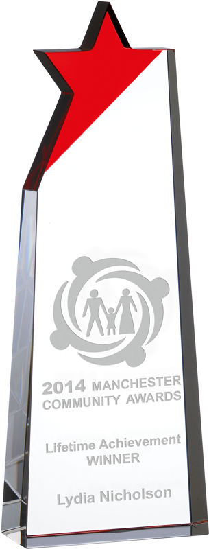 "Optical Crystal Red Star Glass Award 22cm (8.75"")"