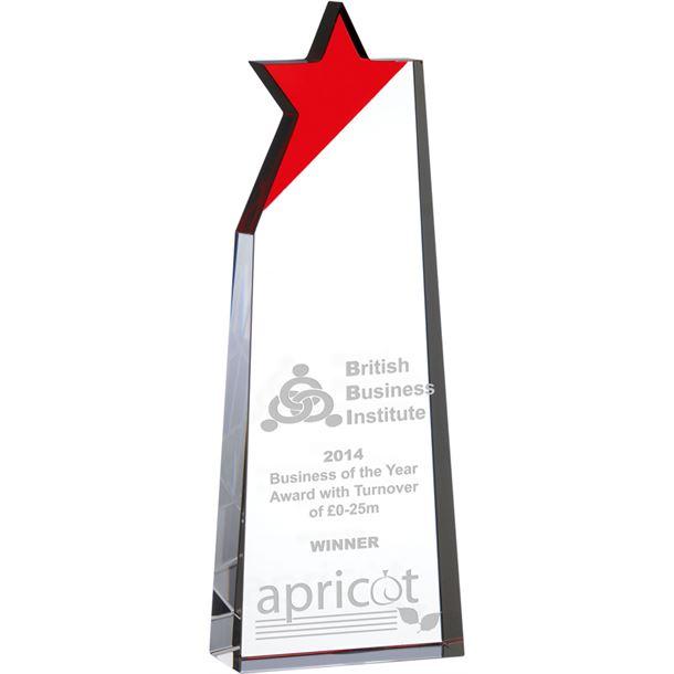 "Optical Crystal Red Star Glass Award 19cm (7.5"")"