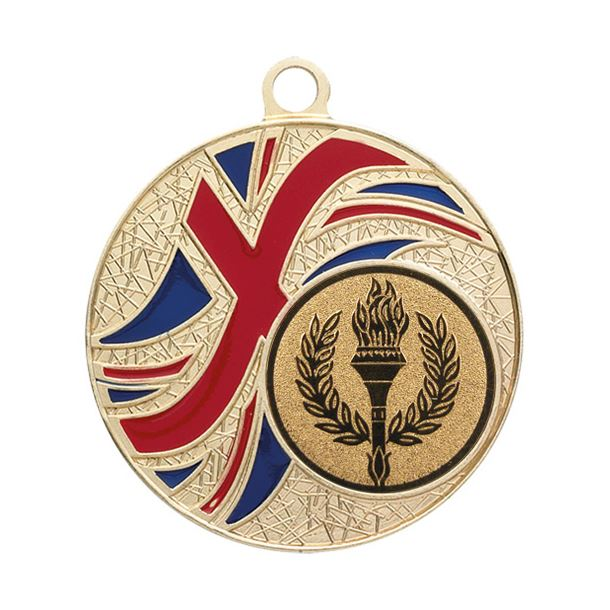 "Gold Union Jack Patterned Medal 50mm (2"")"