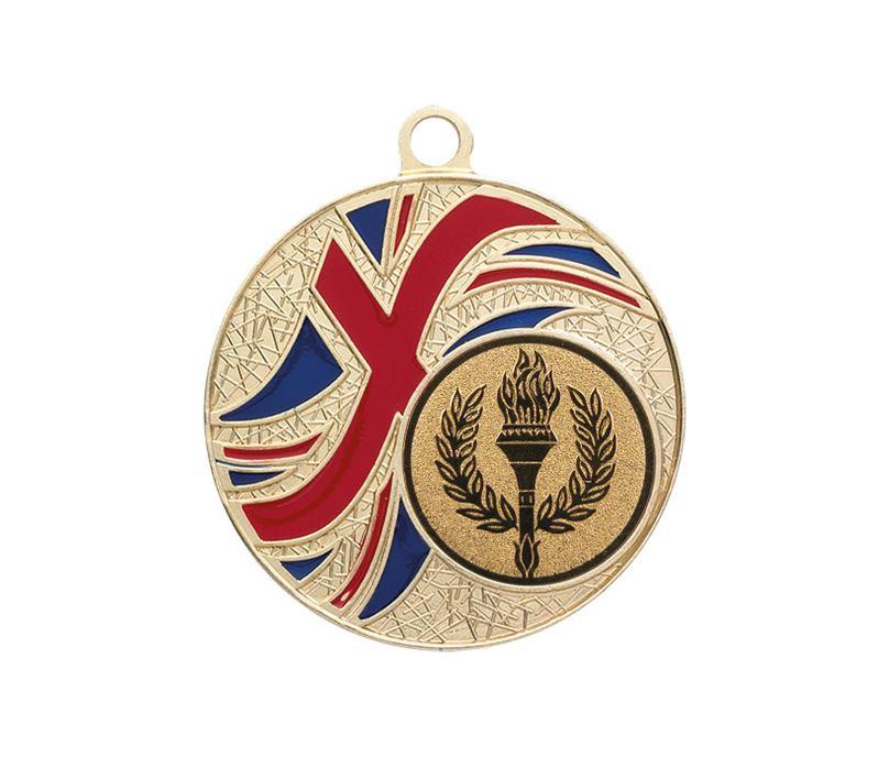 """Gold Union Jack Patterned Medal 50mm (2"""")"""