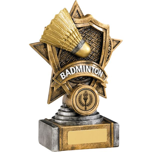 "Gold Badminton Resin Shield Star Trophy 18cm (7"")"