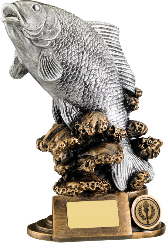 "Antique Silver Resin Fishing Trophy on Gold Base 23cm (9"")"