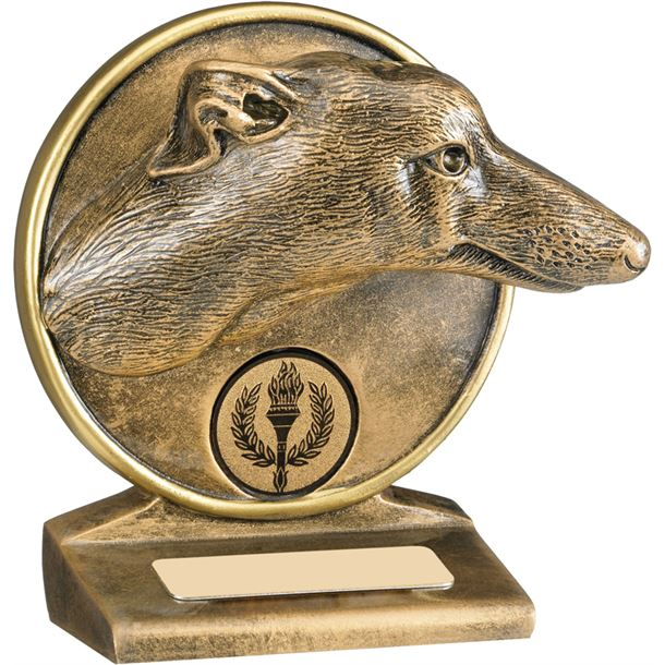"Antique Gold Resin Greyhound Trophy 9.5cm (3.75"")"
