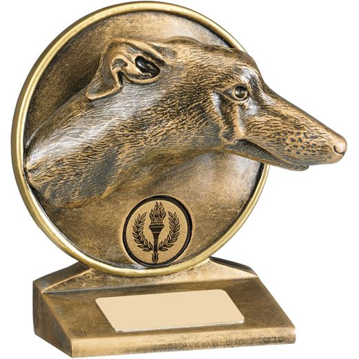 "Antique Gold Resin Greyhound Trophy 12cm (4.75"")"