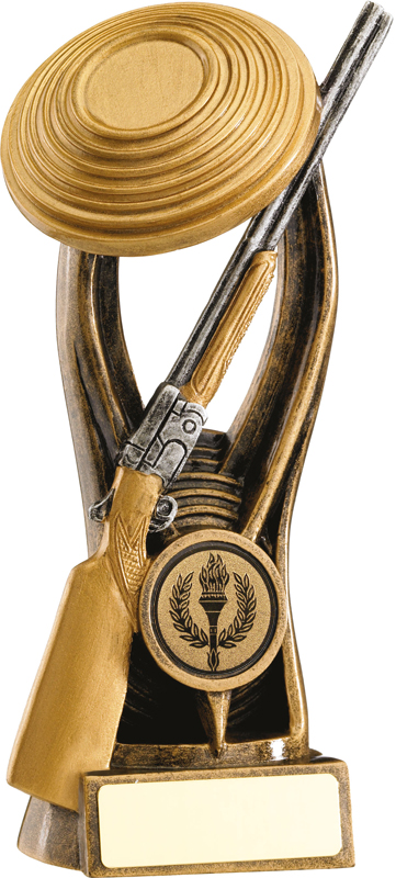 """Gold Resin Clay Pigeon Shooting Trophy 18cm (7"""")"""