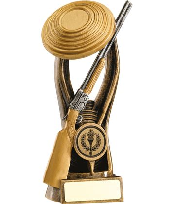 """Gold Resin Clay Pigeon Shooting Trophy 15cm (6"""")"""