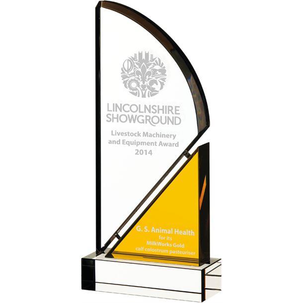 """Optical Crystal Coloured Arc Glass Award 26.5cm (10.5"""")"""