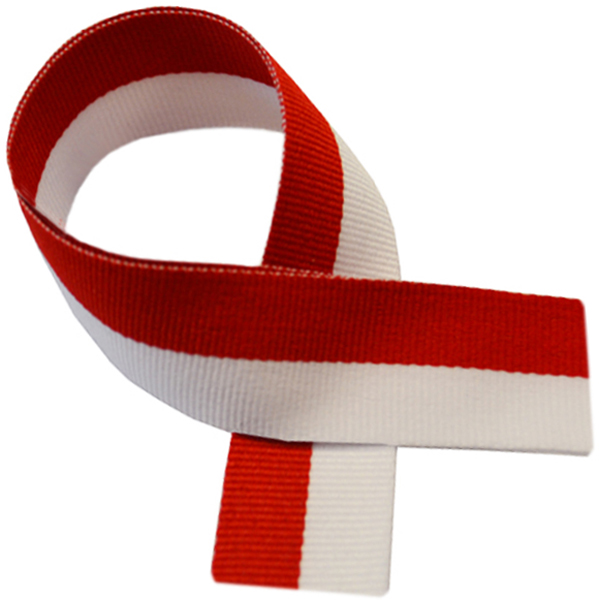 "Red & White Medal Ribbon 76cm (30"")"