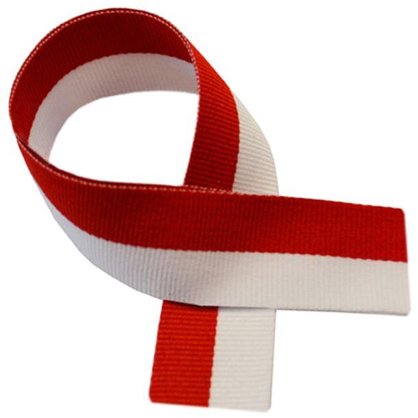 """Red & White Medal Ribbon 80cm (32"""")"""