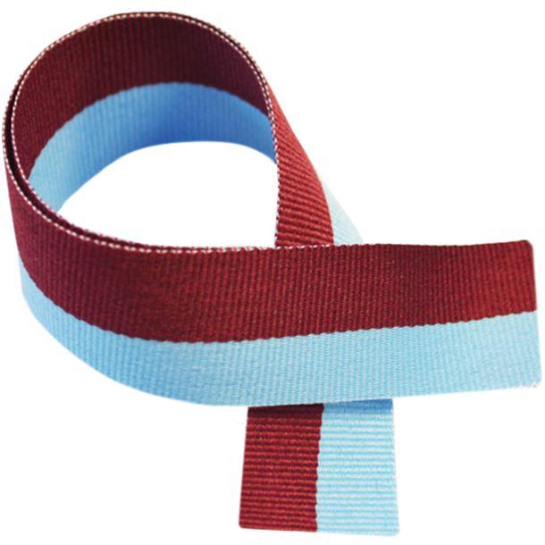 "Claret & Blue Medal Ribbon 80cm (32"")"