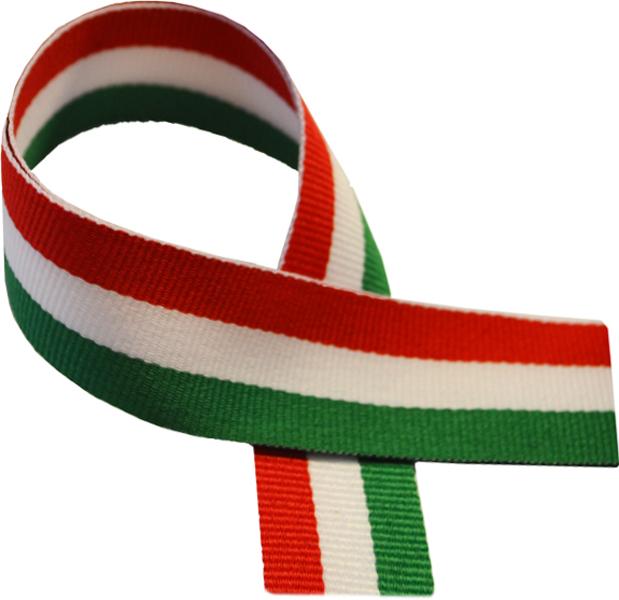 """Green, White & Red Medal Ribbon 76cm (30"""")"""