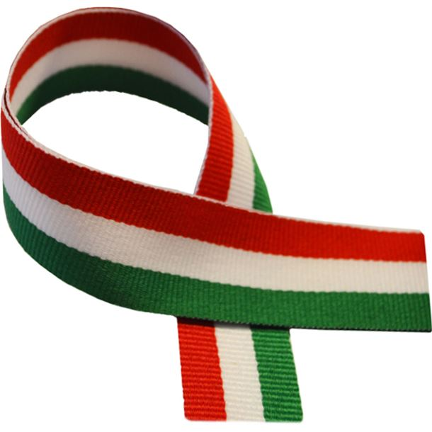 """Green, White & Red Medal Ribbon 80cm (32"""")"""