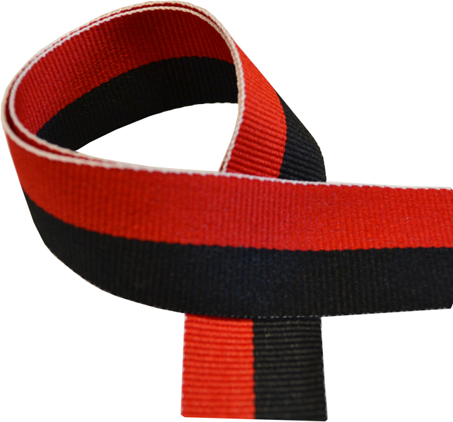 """Black & Red Medal Ribbon 76cm (30"""")"""