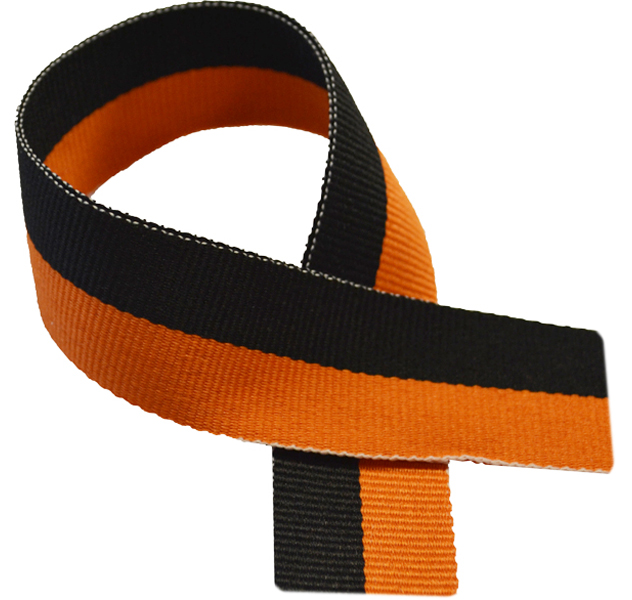 "Black & Orange Medal Ribbon 76cm (30"")"