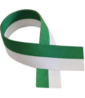 "Green & White Medal Ribbon 80cm (32"")"